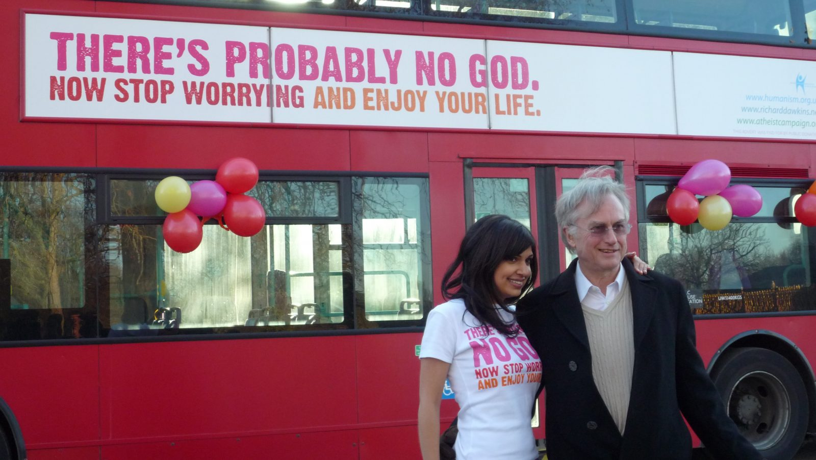 Ariane Sherine and Richard Dawkins at the launch of the Atheist Bus Campaign