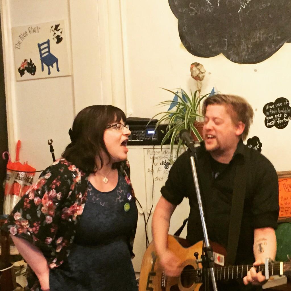 Lis Ferla and Dave Hughes singing Bleeker Street, February 2015