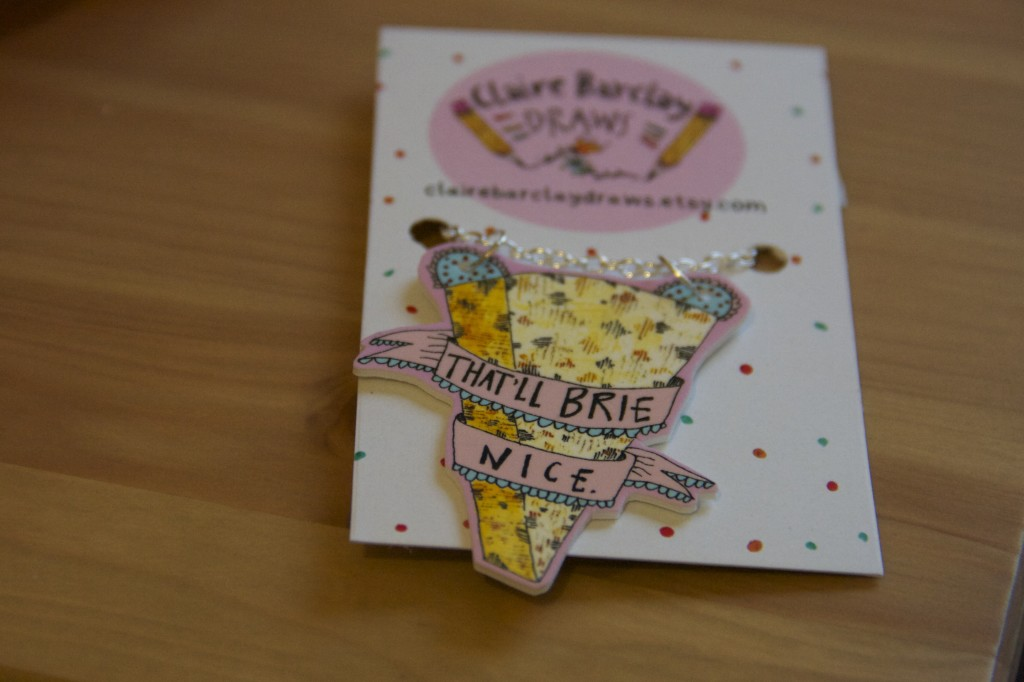 Stocking Box - That'll Brie Nice necklace by Claire Barclay