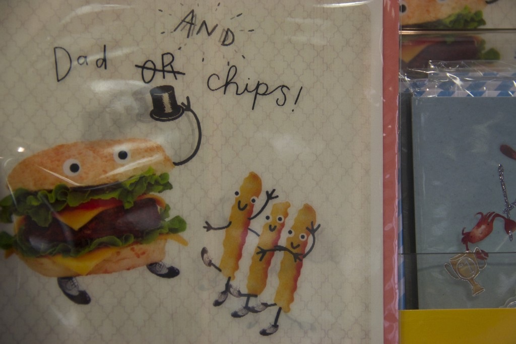 St Enoch Centre: dad or chips card from Clintons