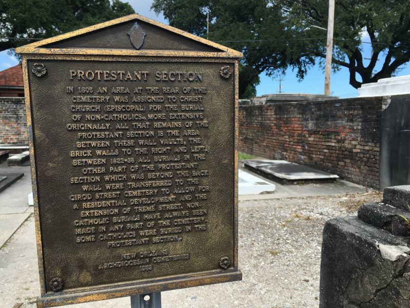 New Orleans - St Louis Cemetery #1 Protestant section sign