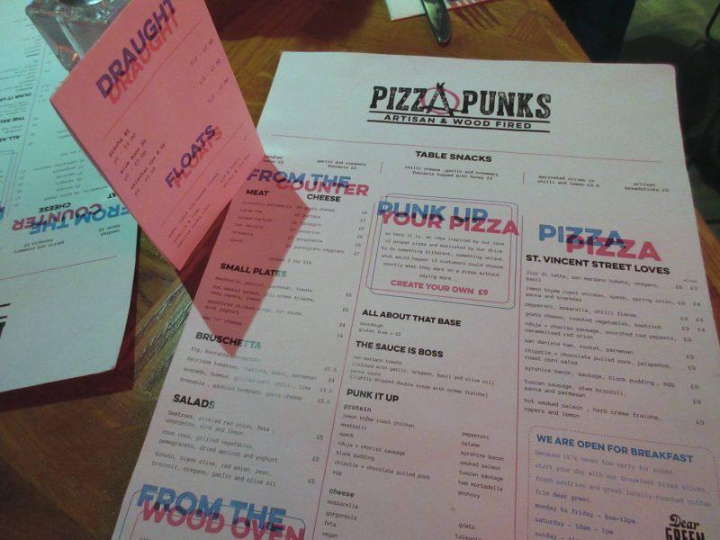 Pizza Punks Glasgow restaurant review - Menu