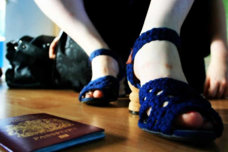 Travel bucket list - cute shoes and a passport