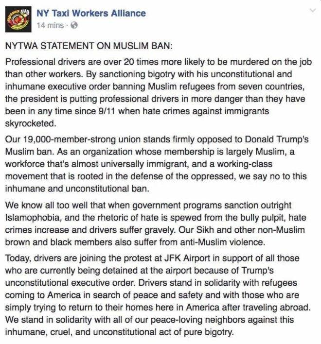NY Taxi Workers Alliance statement on Muslim ban