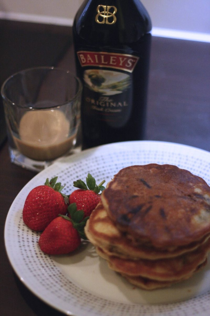 Boozy Baileys Chocolate Chip Pancakes recipe - Last Year's Girl