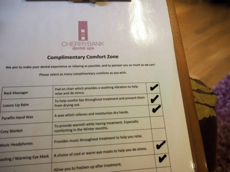 Cherrybank Dental Spa - comfort treatments list