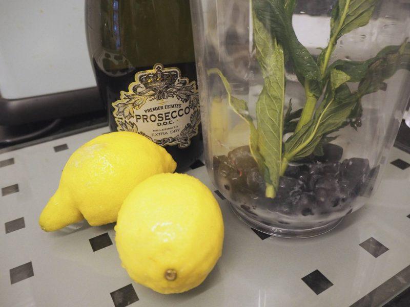 Blueberry Lemonade Prosecco Punch recipe with Premier Estates Prosecco