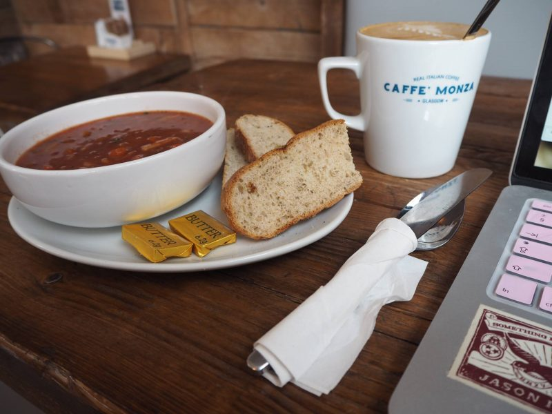 Caffe Monza Partick Glasgow cafe review - minestrone soup