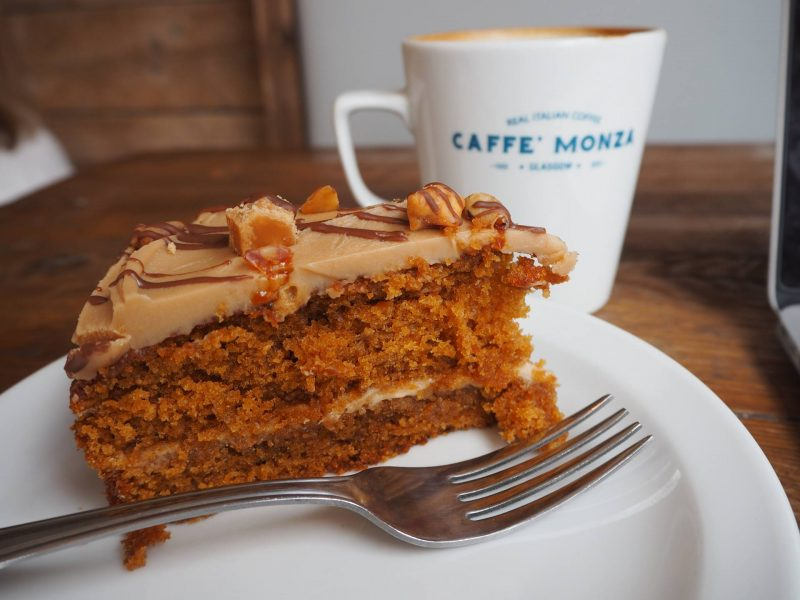 Caffe Monza Partick Glasgow cafe review - cinder toffee cake