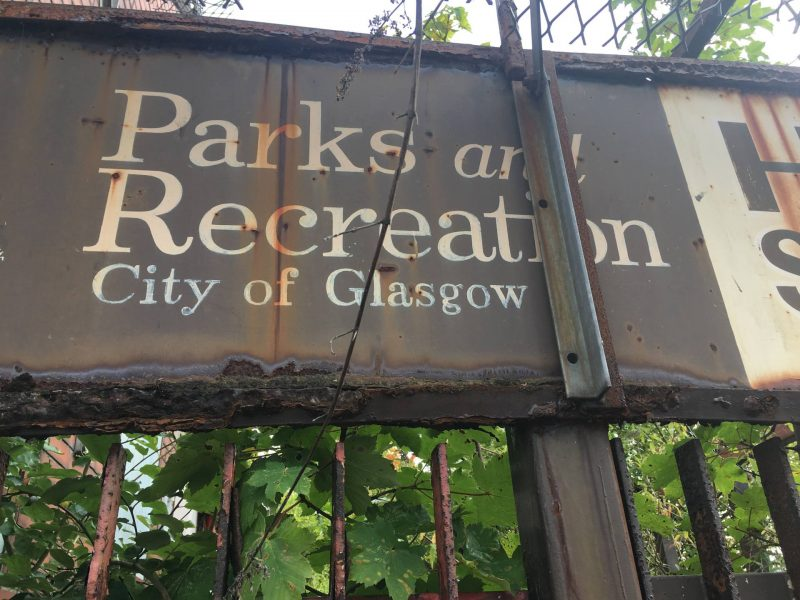 Glasgow Parks and Recreation signage. Tolcross