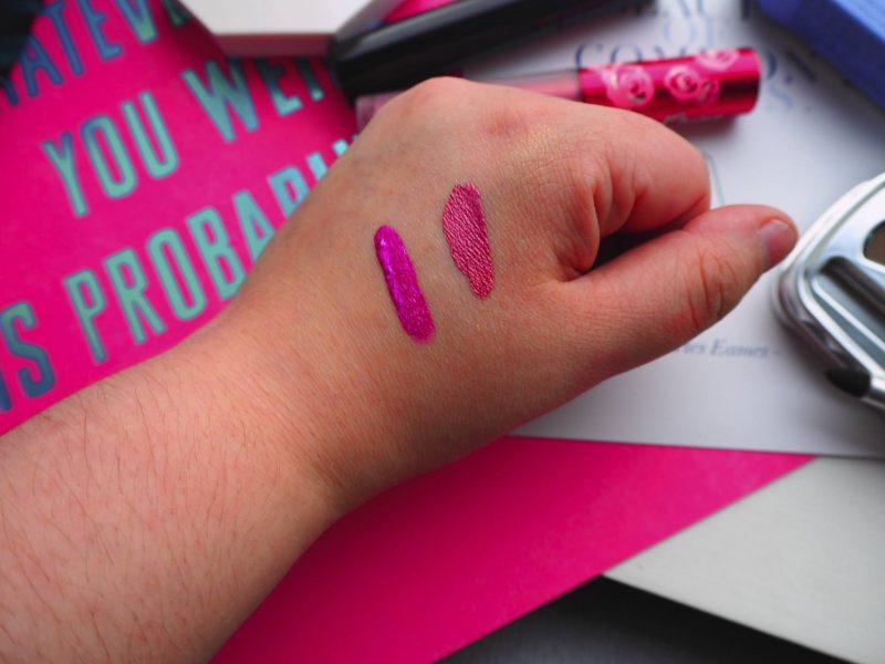 New beauty buys - Kat Von D Everlasting glimmer veil liquid lipstick, Lime Crime metallic Velvetines liquid lipstick swatches