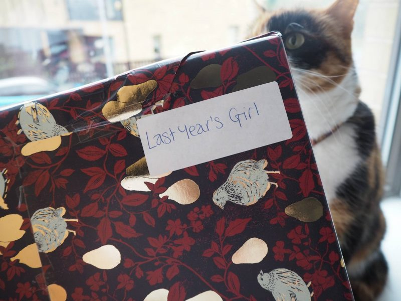 John Lewis Secret Santa - wrapped gifts and nosy cat