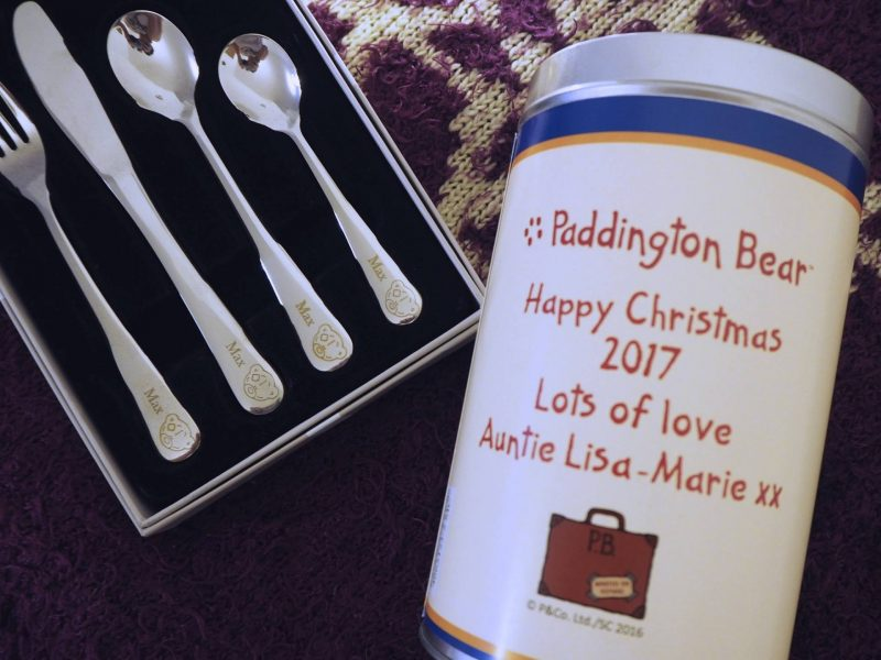 Personalised Christmas gifts from Personally Presented: Paddington Bear and personalised cutlery