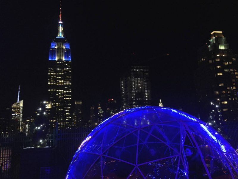 New York travel blog: igloos with an Empire State view at 230 Fifth rooftop bar