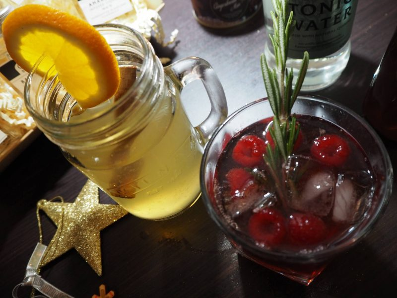 The Gin Bothy - Christmas cocktails - mulled gin toddy and raspberry and rosemary fizzer