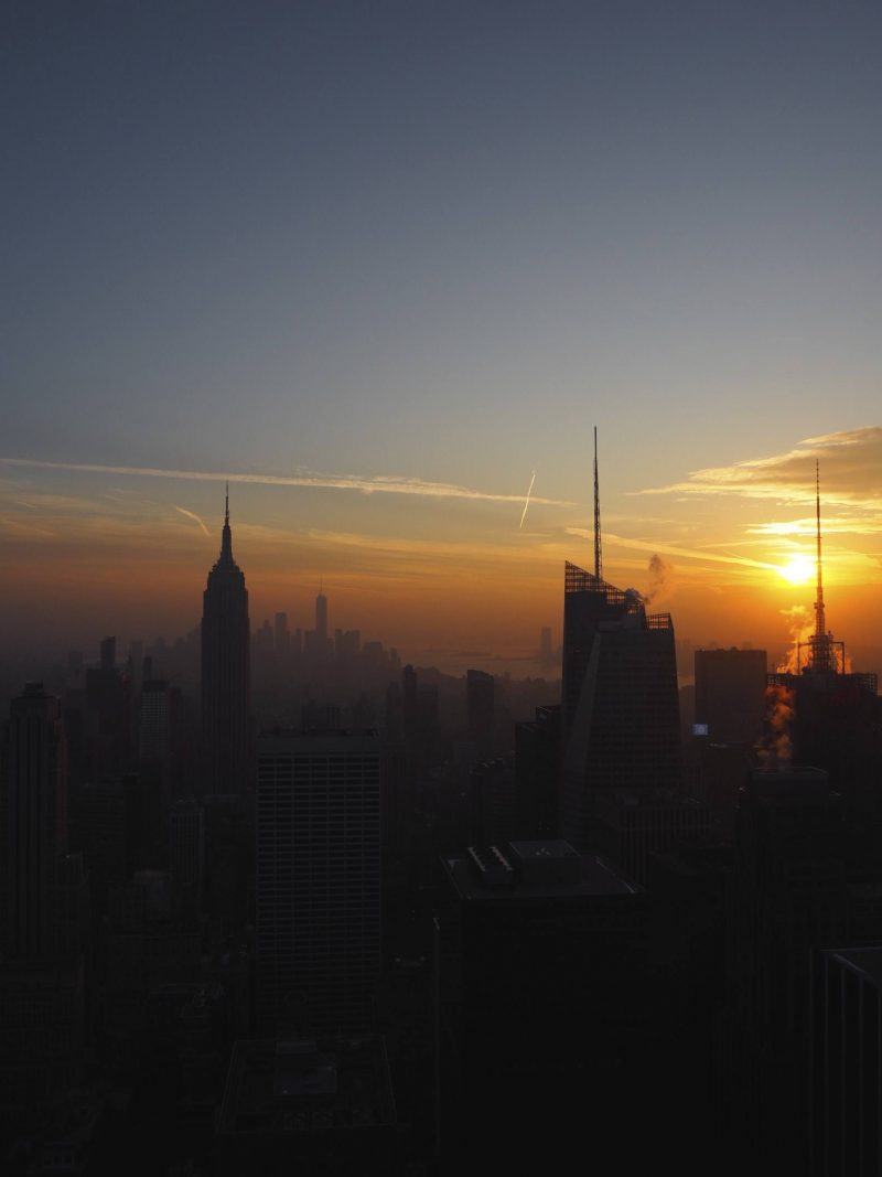 New York travel blog: watching the sunset over the Empire State Building from Rockefeller Centre observation deck