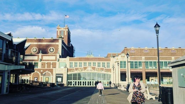 Lis walks along Asbury Park Boardwalk, NJ, December 2017