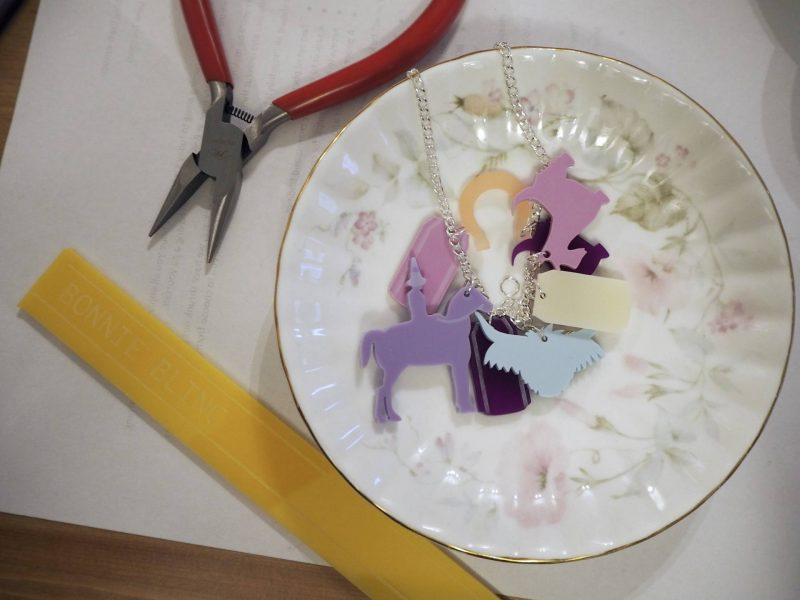 Bonnie Bling jewellery-making workshop - a china saucer full of acrylic charms!