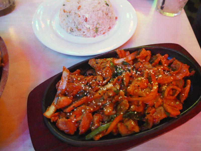 Bibimbap Glasgow Korean restaurant review - jeyuk bokkeum stir-fried spicy pork with fried rice