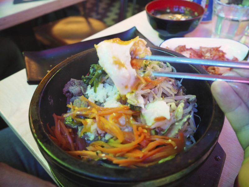 Bibimbap Korean restaurant Glasgow review - bibimbap getting eaten