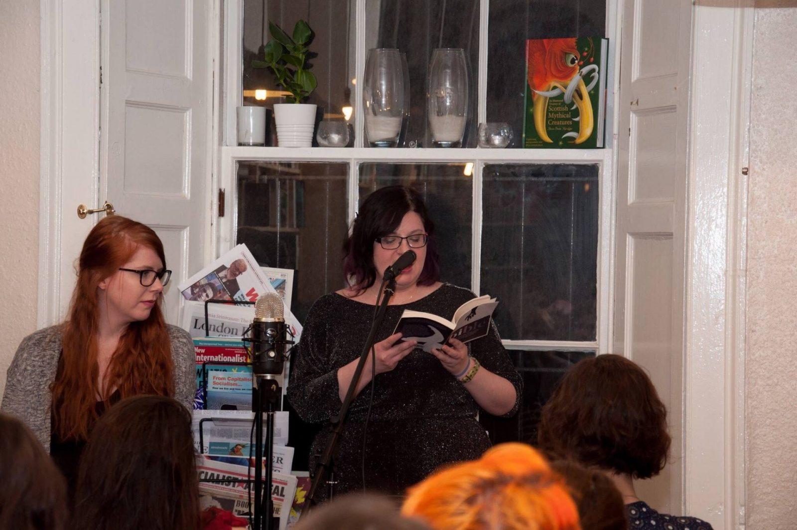 Lis Ferla reading at Monstrous Regiment book launch, Lighthouse Books, Edinburgh, March 2018