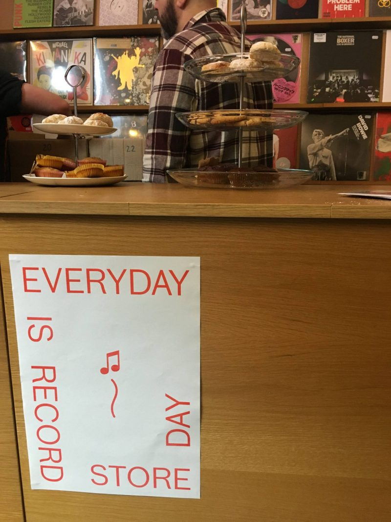 Monorail Glasgow counter, displaying Everyday is Record Store Day poster