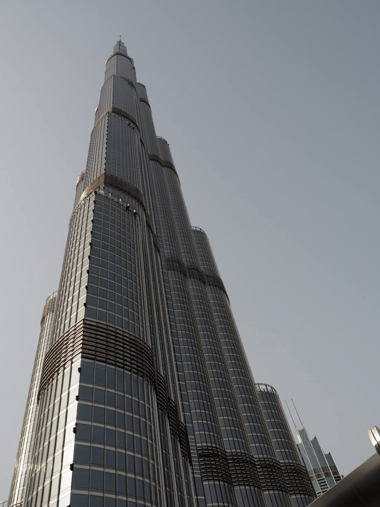Looking up at the Burj Khalifa tower, Dubai