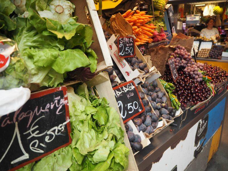 Fresh fruit and vegatables at Atarazanas Market, Malaga, Spain, July 2018