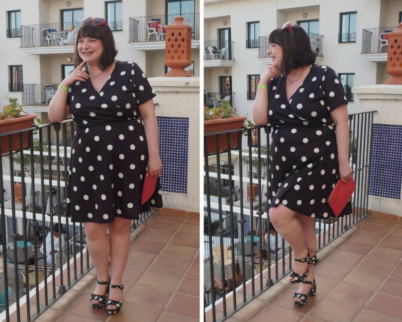 Pink Clove summer holiday lookbook - Sammy Wrap Front Skater Dress in Black with White Spot