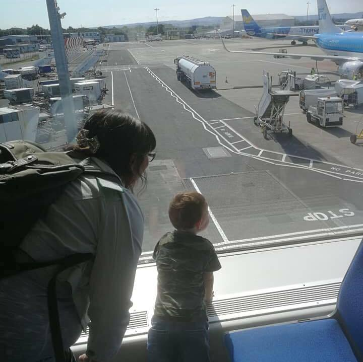 Planespotting with my nephew at Glasgow Airport, July 2018