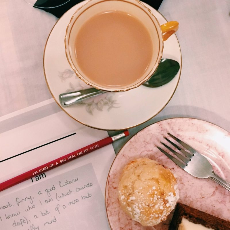 Afternoon tea at the first Blog & Beyond workshop in Glasgow, August 2018