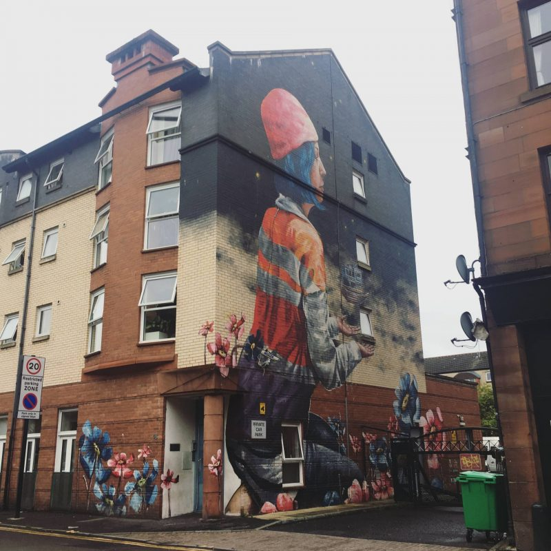 Fintan Magee In Common Festival 2014 mural, Partick