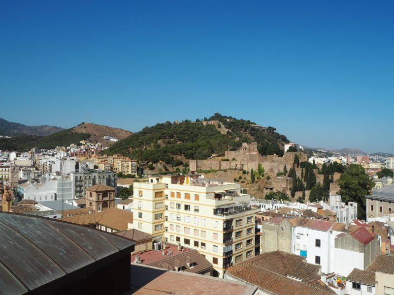 24 hours in Malaga - view from Malaga Cathedral roof including Castillo de Gibralfaro