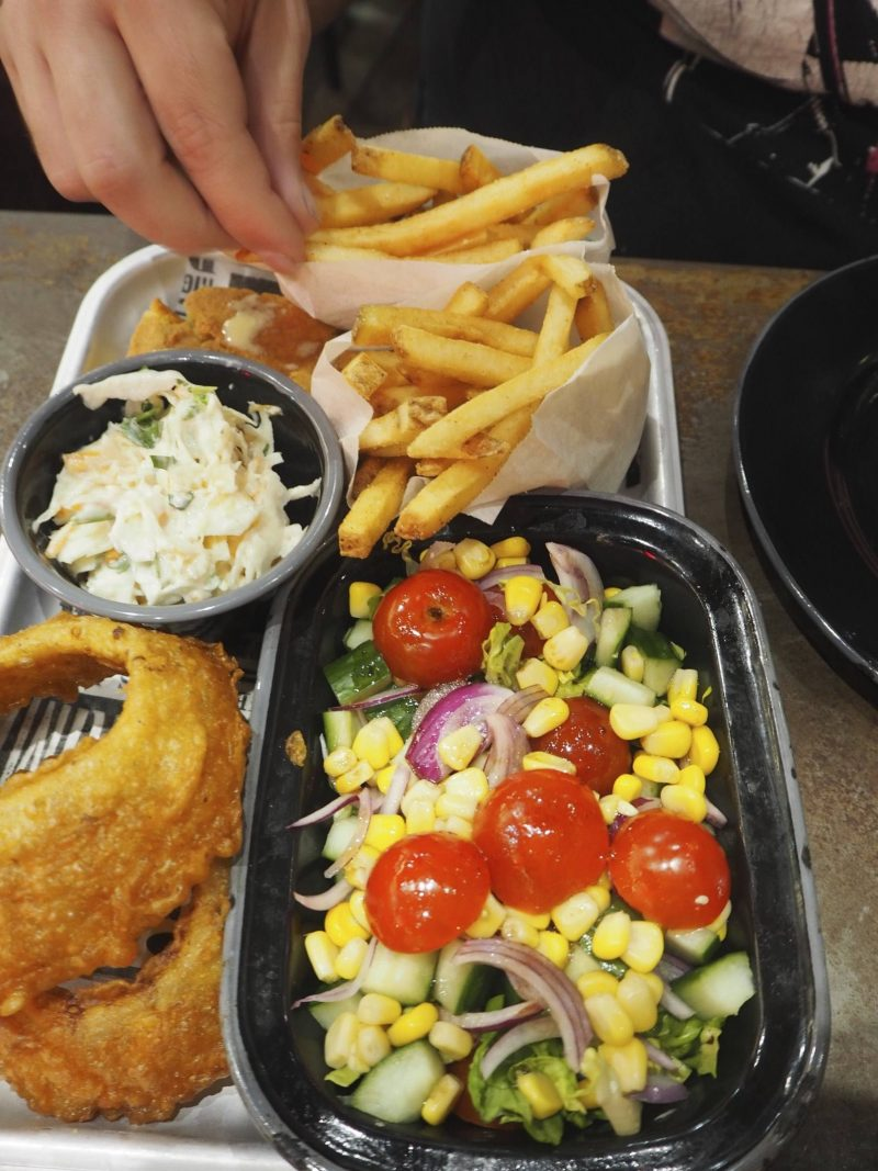 Red's True Barbecue, Newcastle review: The Feast sides featuring onion rings, salad and fries