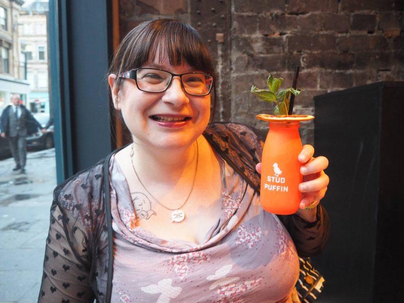 Revolution Mitchell Street Glasgow restaurant review - Lis with her Stud Puffin vodka cocktail