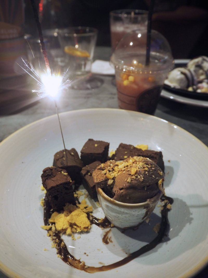 Revolution Mitchell Street Glasgow restaurant review: Bombshell Brownie, deconstructed with a sparkler
