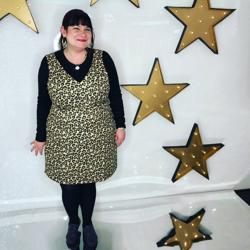 Leopardprint Joanie Clothing pinafore at Braehead A/W 2018 press event, September 2018