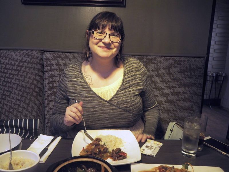 Lychee Oriental Glasgow Chinese restaurant review - Lis tucking in to her main course