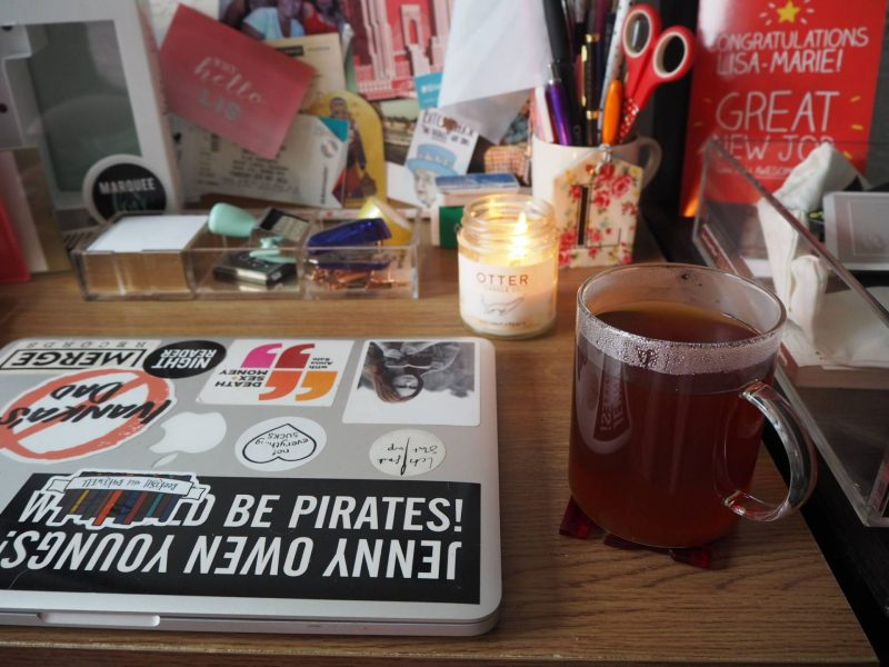 Drinking Adagio Tea loose leaf tea at my desk