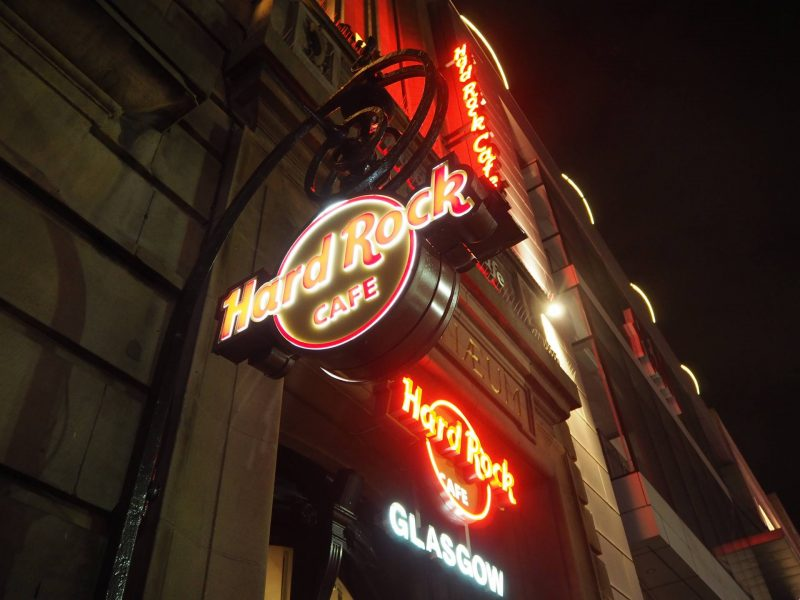 Hard Rock Cafe Glasgow exterior by night
