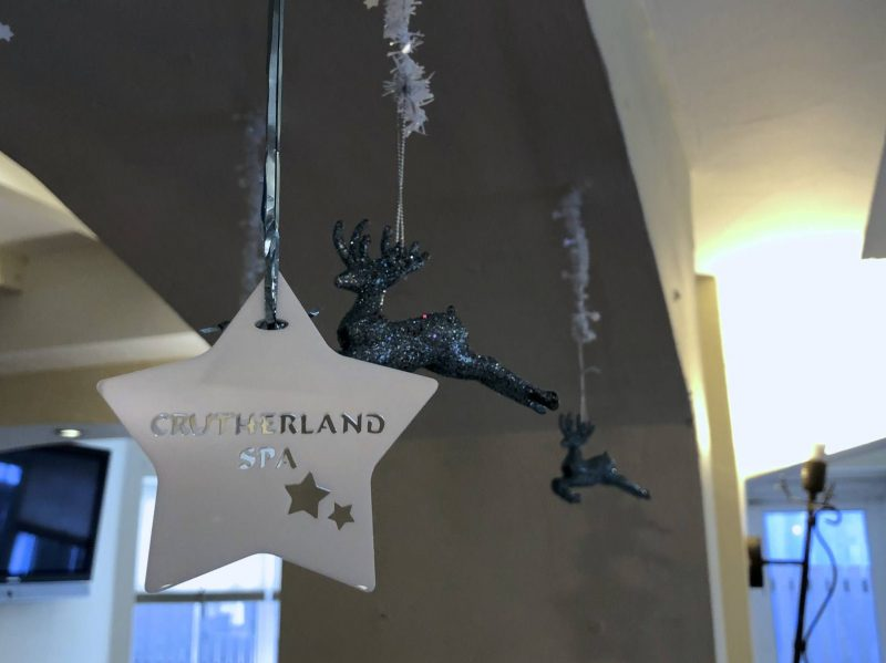 Macdonald Crutherland House Hotel spa Christmas decorations