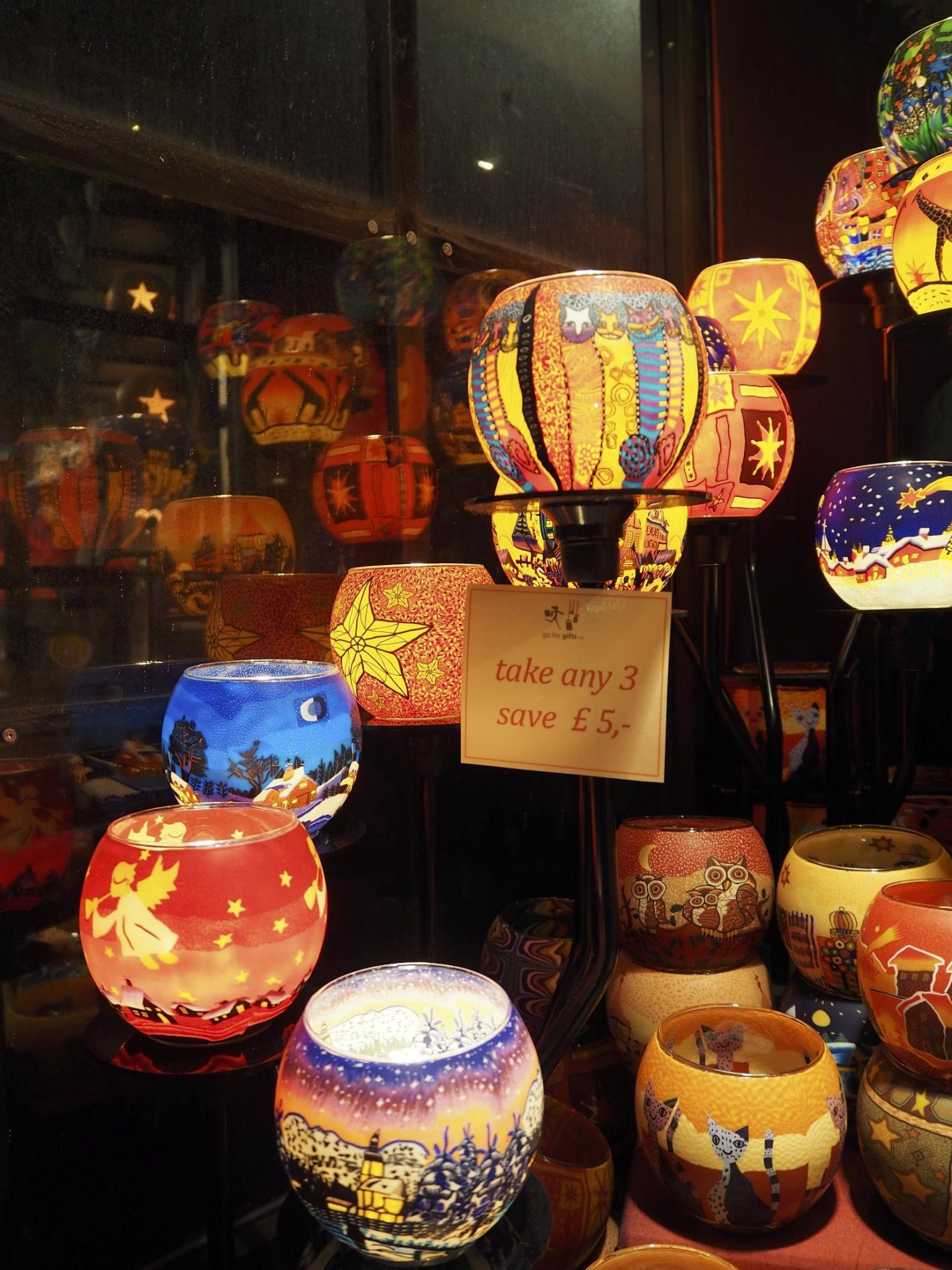 Candle-holders on sale at Edinburgh's Christmas market; photo by Last Year's Girl.